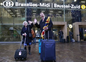 MEPs Ann Widdecombe and Jonathan Bullock arrive at Brussels-South railway station