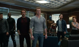 From left: Jeremy Renner, Don Cheadle, Robert Downey Jr, Chris Evans, Karen Gillan, the character Rocket, voiced by Bradley Cooper, Paul Rudd and Scarlett Johansson in Avengers: Endgame.
