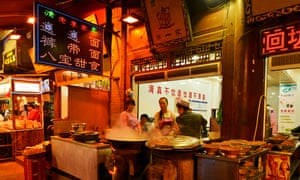 Food stall in the Muslim quarter of Xi'an, China.