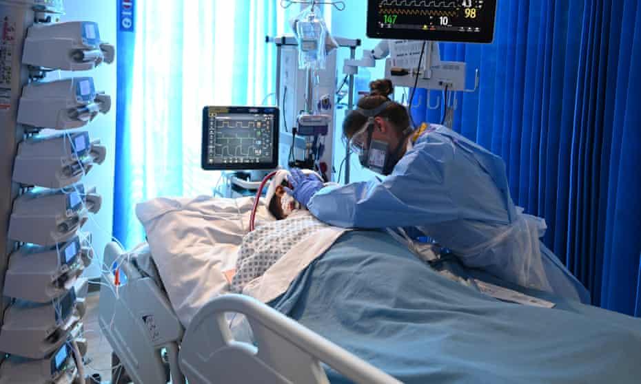 A coronavirus patient in intensive care
