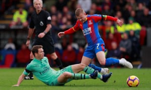 Crystal Palace's Max Meyer, seen here being challenged by Stephan Lichtsteiner of Arsenal, did well after coming off the bench