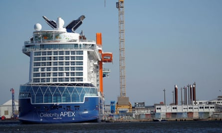 Celebrity Apex cruise ship moored at Saint-Nazaire France.