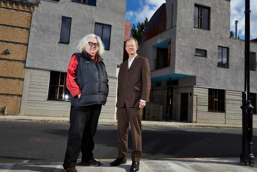 'A man of imposing presence and hair': Peter Salter, left, with the property's developer, Crispin Kelly, outside Walmer Yard.