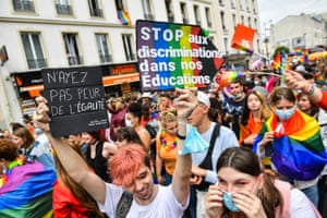 Paris, France. Thousands of people took to the streets in a pared-down ceremony owing to Covid restrictions. Last year's Pride parade was cancelled because of the pandemic