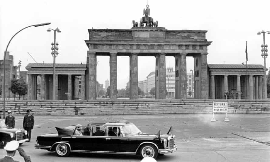 The Queen and the Duke of Edinburgh at the Brandenburg Gate during their first visit to Berlin in 1965. The trip was seen as a major contribution in healing the wounds of the second world war.