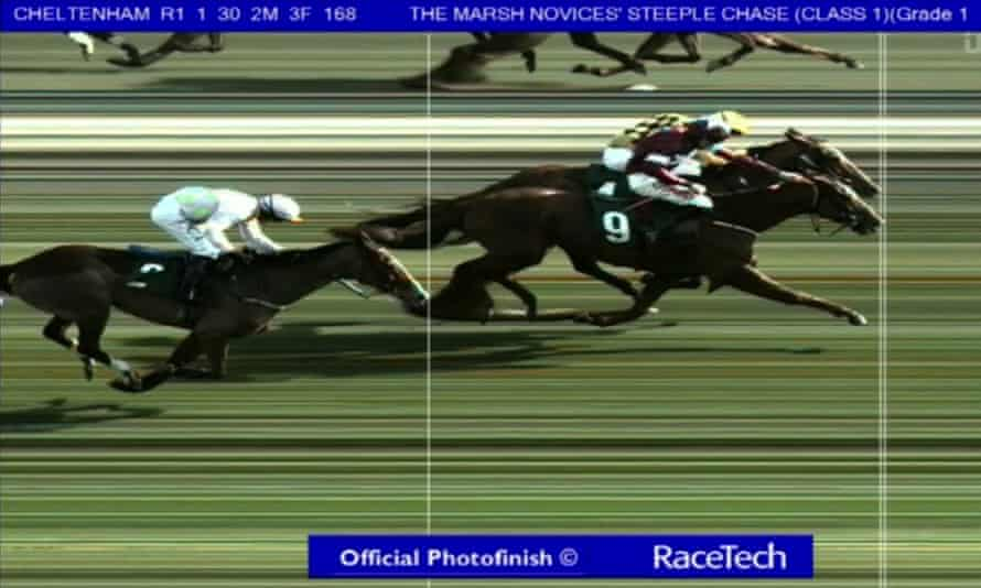 The photo finish showing Samcro pipping Melon at the post to win the Marsh Novice Chase.