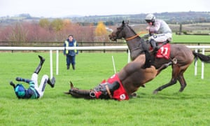 Ruby Walsh hits the ground after his mount Minnie Dahill falls in the first race at Punchestown
