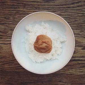 plain rice with umeboshi