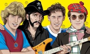 (Left to right) Aston Villa's Tony Morley, Mötorhead's Lemmy, Ipswich Town's Terry Butcher and Watford chairman Elton John.