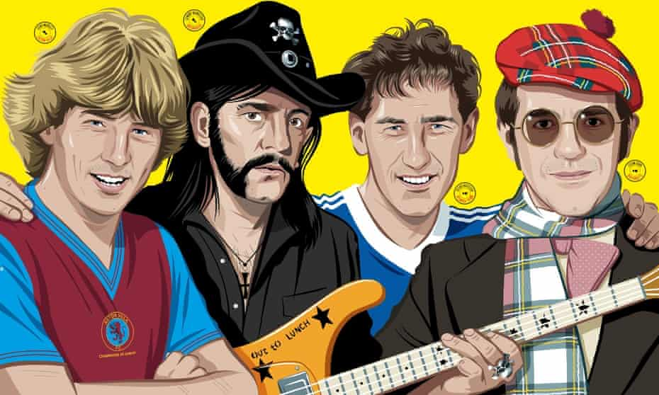 (Left to right) Aston Villa's Tony Morley, Mötorhead's Lemmy, Ipswich Town's Terry Butcher and Watford chairman Elton John.