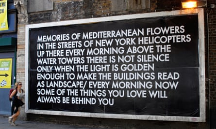 One of the protest poems Montgomery put in Shoreditch billboards during the anti-Iraq war protests.