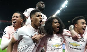 Marcus Rashford leads the celebrations after his injury-time penalty, which sent United through on away goals.