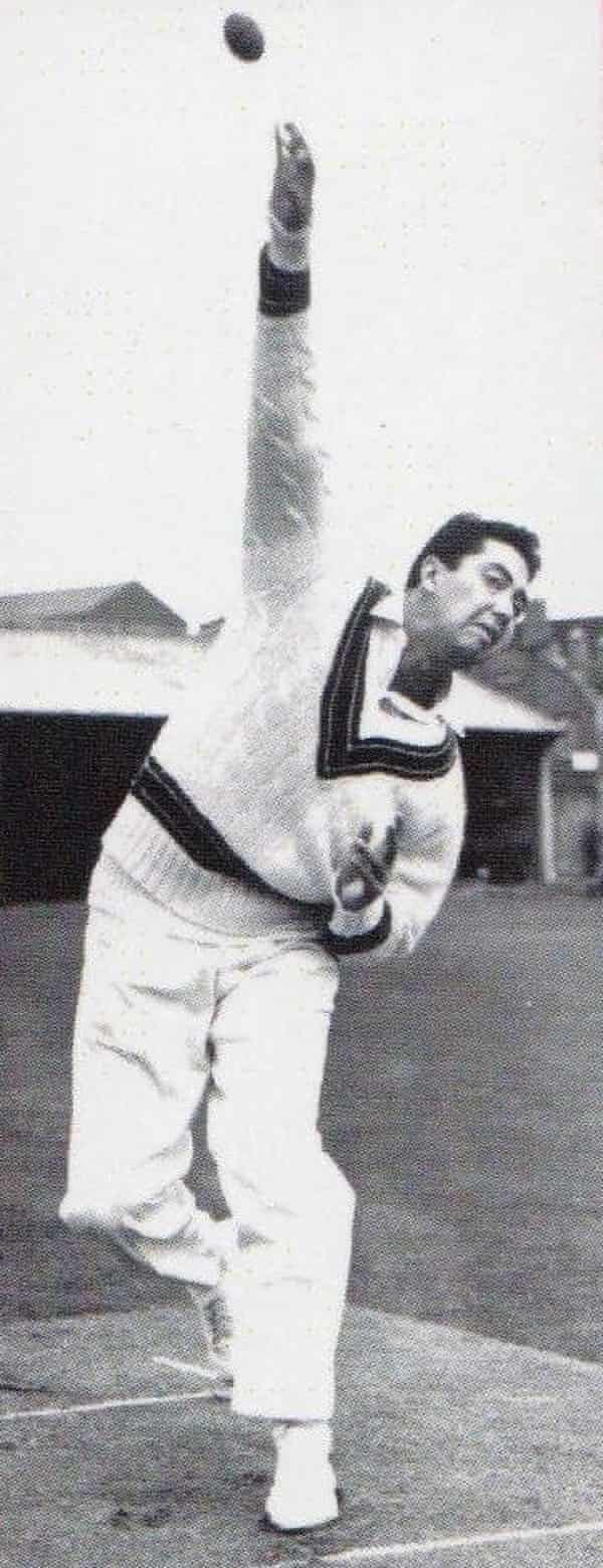 One-Test Australian cricket Rex Sellers, pictured practising his leg-spin bowling.
