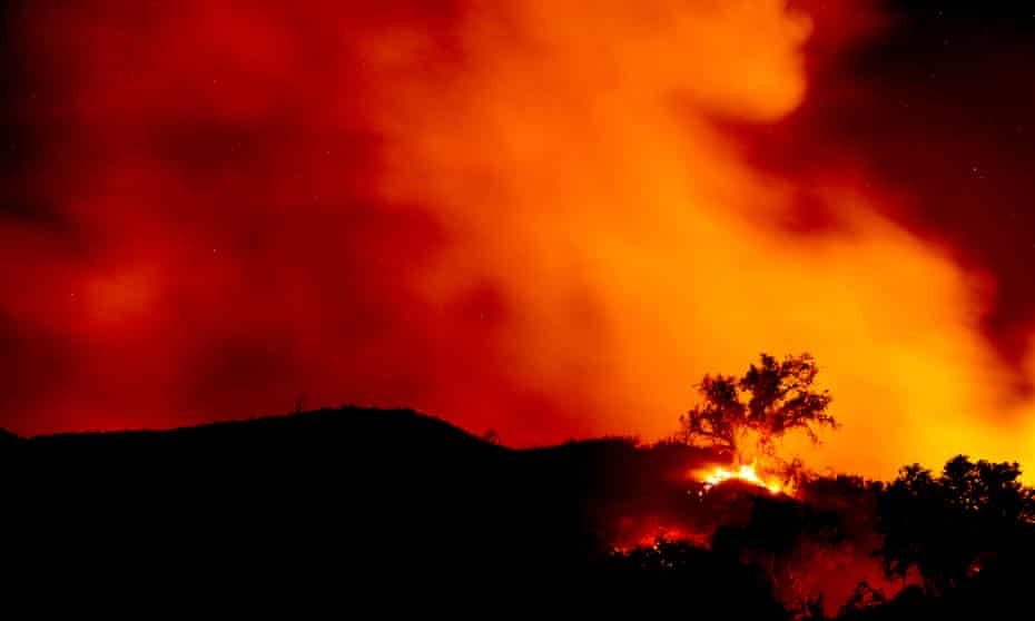 The Alisal fire burns in the canyons near Santa Barbara.