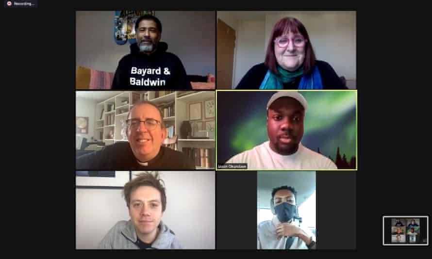 Our panel (clockwise from top-left) … Marc Thompson, Lisa Power, Jason Okundaye, Omari Douglas, Owen Jones and the Rev Richard Coles.