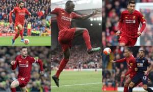 Clockwise from top left: Mohamed Salah, Sadio Mané, Roberto Firmino, Virgil van Dijk and Jordan Henderson.