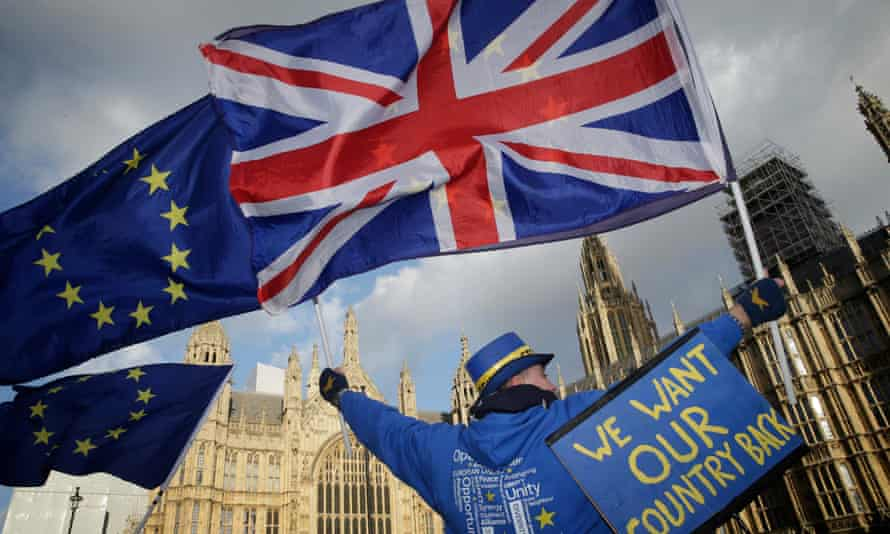Anti-Brexiters protest at Westminster