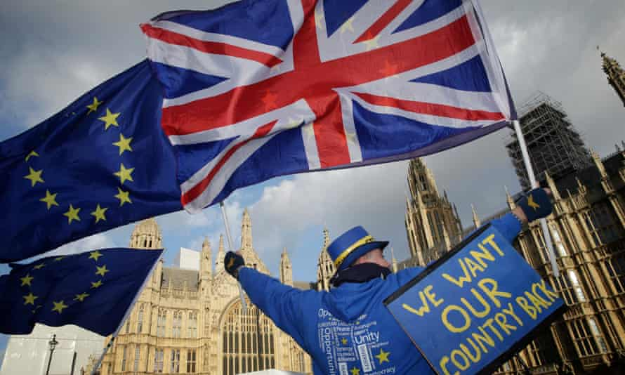 Protests against Brexit outside the Houses of Parliament in London.