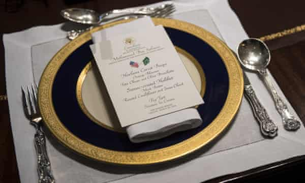 A lunch menu for Donald Trump's working lunch with Crown Prince Mohammed bin Salman of Saudi Arabia in the Oval Office at the White House on 20 March.
