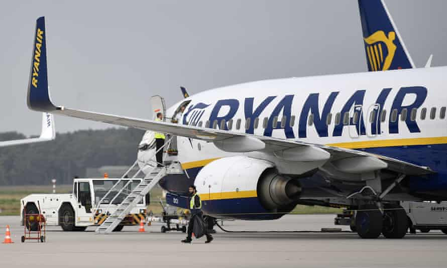 A Ryanair jet on the runway
