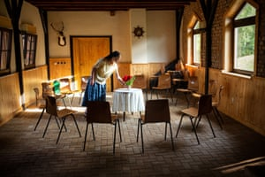 Preparing the meeting Room, Sannerz, Germany. This is where the community was started in 1920.