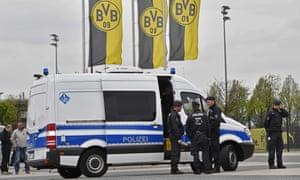 Police secure the Borussia Dortmund training ground