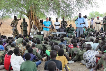 A Unicef child protection specialist speaks during a ceremony last March formalising the release of children from the Cobra faction in Jonglei state.
