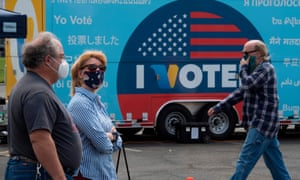 People vote at a voting station for the special election between Democratic state assemblywoman Christy Smith and Republican businessman and ex-Navy pilot Mike Garcia to replace former Democratic Congresswoman Katie Hill in the state's 25th Congressional District.