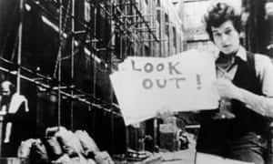 Bob Dylan in a still from the 1967 documentary film Don't Look Back.