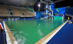 Green water in the diving pool.