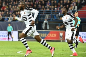 Rennes forward Giovanni Sio celebrates after scoring against Caen.