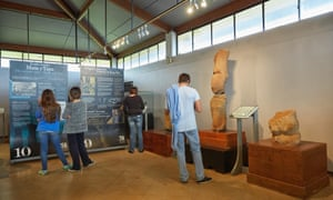 Visitors look at exhibits at the Father Sebastian Englert Anthropological Museum, Rapa Nui.
