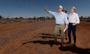 Scott Morrison with agriculture minister David Littleproud and deputy Nationals leader Bridget McKenzie in Quilpie in south-west Queensland on Monday.