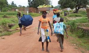 The road in Boda that separated Christian and Muslims when fighting broke out in 2014