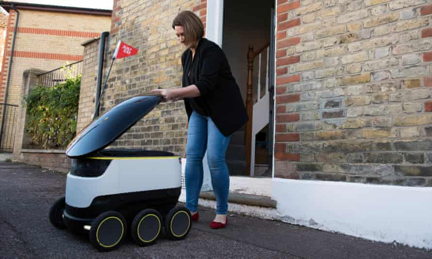 A Starship Technologies robot makes a delivery in Greenwich.