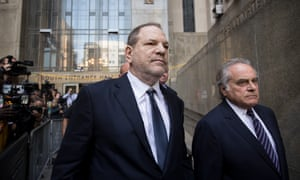 Harvey Weinstein and attorney Benjamin Brafman leave court in New York in June.