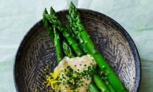 Top tips: steamed asparagus, miso mayonnaise.