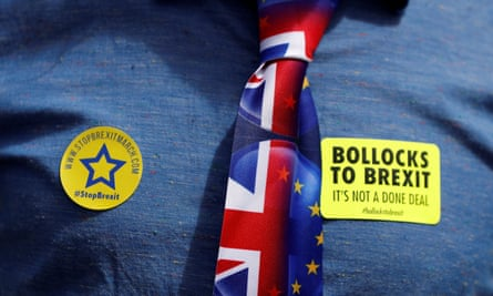 A demonstrator wears 'Bollocks to Brexit' stickers and an EU and union flag tie.