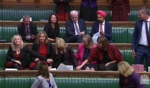 Rosie Duffield is comforted after delivering her domestic abuse speech to the House of Commons
