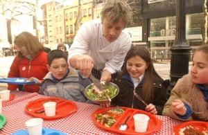 Jamie Oliver promoting healthy school dinners in 2005