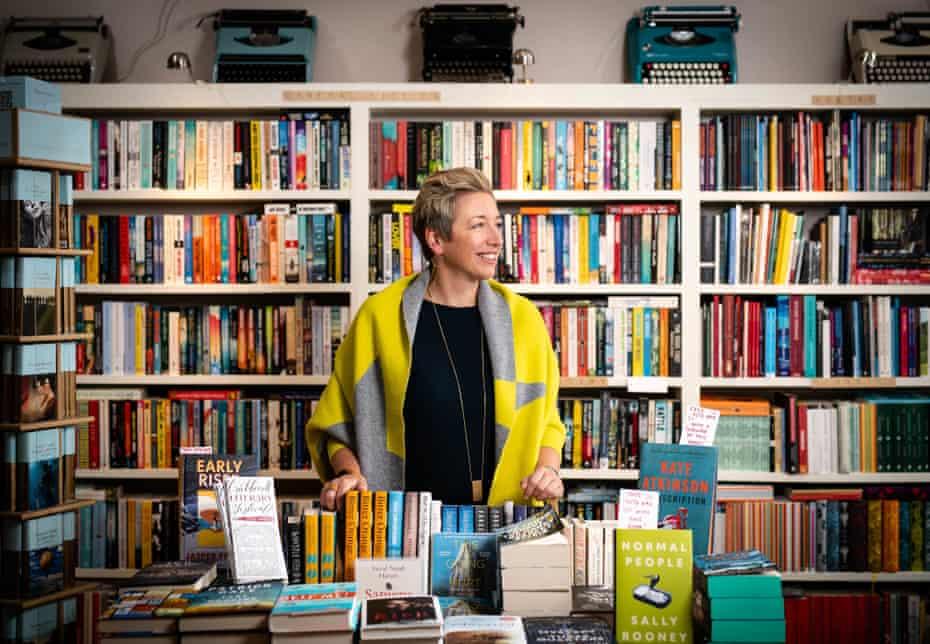 Emma Corfield Walters, in her shop, Book-ish,  Crickhowell High Street, Wales