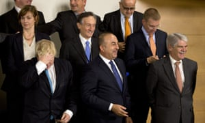 Boris Johnson in a group photo of Nato ministers