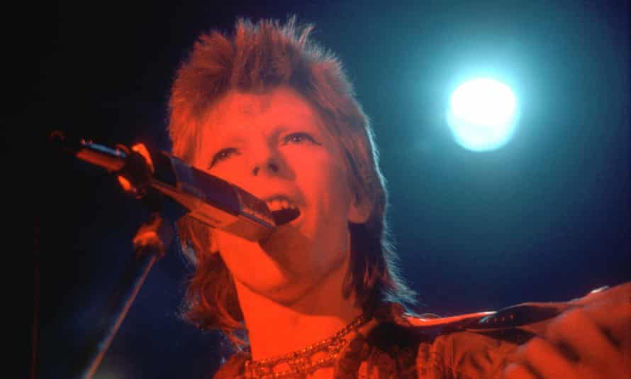 David Bowie performs as Ziggy Stardust in Los Angeles in 1973.