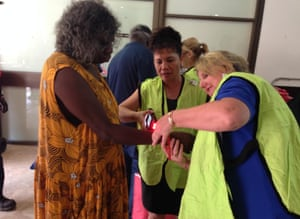 A group of evacuees from the Warruwi community on Goulburn Island arrives at the Darwin show grounds shelter
