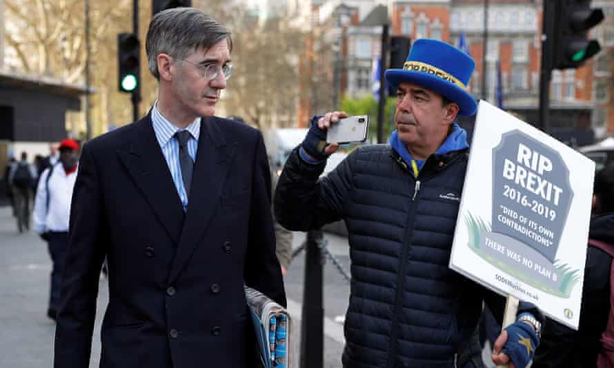 Conservative MP Jacob Rees-Mogg confronted by anti-Brexit protester Steve Bray outside parliament.