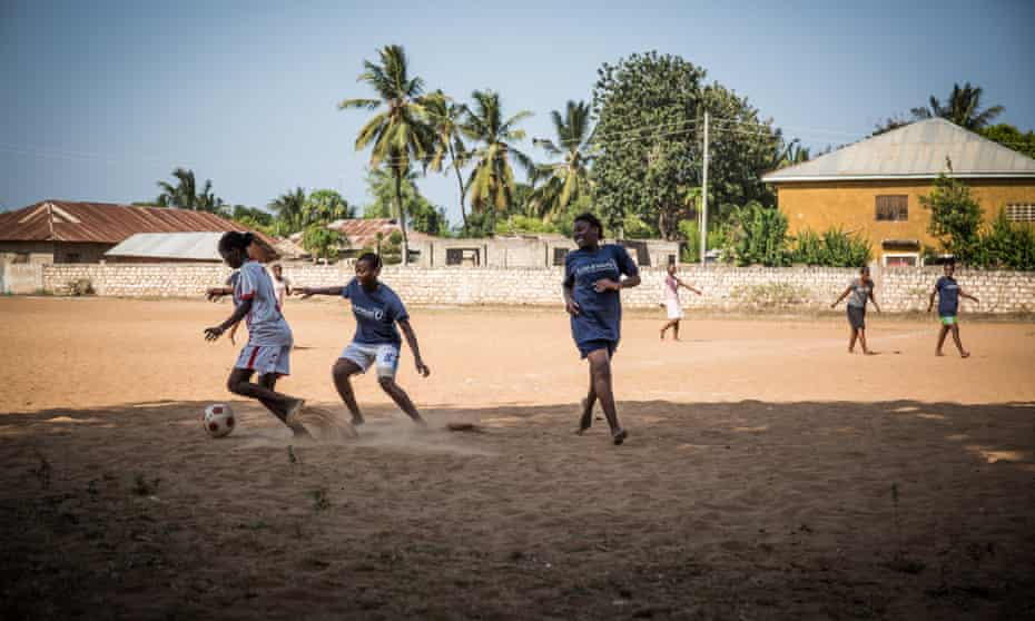 Girls enjoying the Moving the Goalposts programme in Kilifi, Kenya
