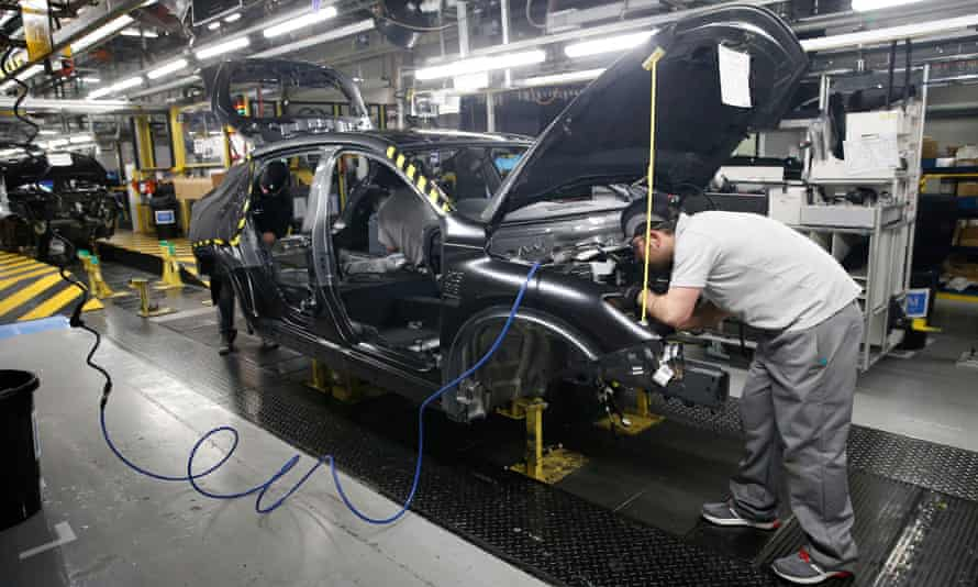 A car being built in Nissan's Sunderland factory.