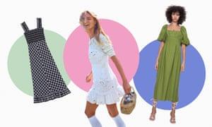 Picnic-worthy dresses by Ganni, Love Shack Fancy and Zara.