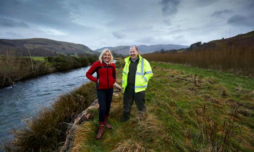 Ian Watkins, right, Iggesund's alternative fuel manager, with Jan Wilkinson at her willow plantation on the river Cocker in Cumbria.