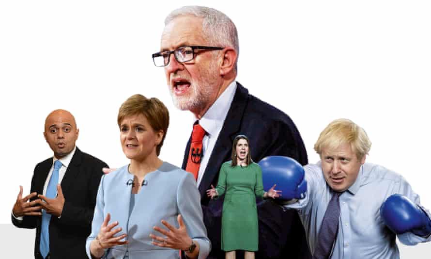 From left: Sajid Javid, Nicola Sturgeon, Jeremy Corbyn, Jo Swinson and Boris Johnson.
